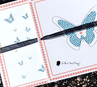 faire-part de mariage sur-mesure papillon pois rose bleu
