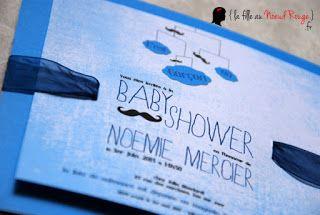 faire-part baby shower sur-mesure ruban bleu moustache