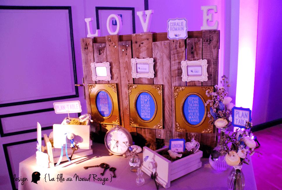 Mariage champêtre romantique rétro vintage ruban bleu + dentelle.  Décoration mariage  plan de table pour mariage champêtre romantique