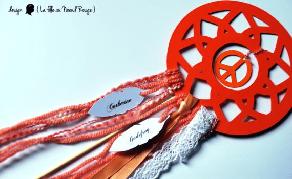 faire-part de mariage et décoration papeterie sur-mesure hippie chic corail attrape rêve