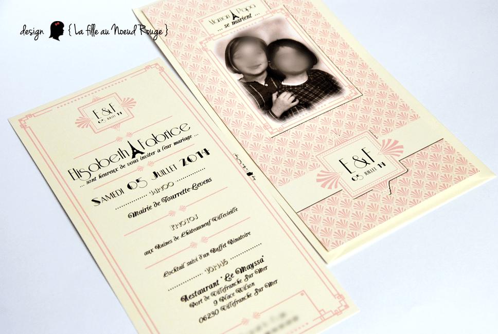 Berühmt Faire-part de mariage vintage (art déco) - La fille au Noeud Rouge  WG75