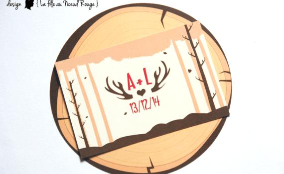 faire-part de mariage et décoration papeterie sur-mesure nature forêt cerf rondin bois