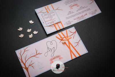 faire-part de mariage sur-mesure et décoration papeterie oiseau nid arbre nature ivoire corail vert clair