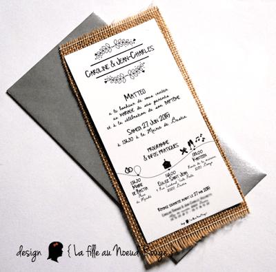 faire-part de mariage sur-mesure et décoration papeterie toile de jute programme moderne graphique symboles
