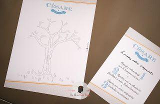 faire-part de baptême sur-mesure et décoration papeterie moderne graphique turquoise moutarde arbre à empreintes