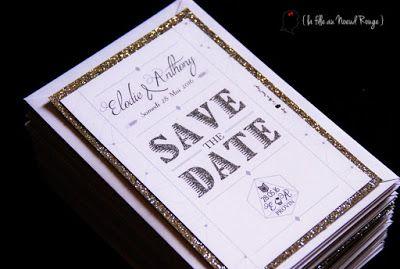 faire-part de mariage sur-mesure et décoration papeterie photomaton paillette moderne géométrie graphique save the date