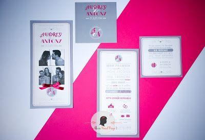 faire-part de mariage sur-mesure et décoration papeterie moderne photo programme fuchia gris coupon dîner