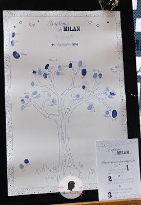 faire-part de baptême sur-mesure et décoration papeterie étoile bleu marine éléphant arbre à empreintes