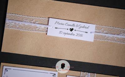 faire-part de mariage sur-mesure et décoration papeterie kraft dentelle
