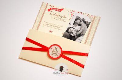faire-part de mariage sur-mesure et décoration papeterie champêtre blé tracteur campagne ivoire rouge