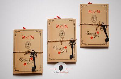 faire-part de mariage sur-mesure et décoration papeterie kraft vintage clé alice au pays des merveilles