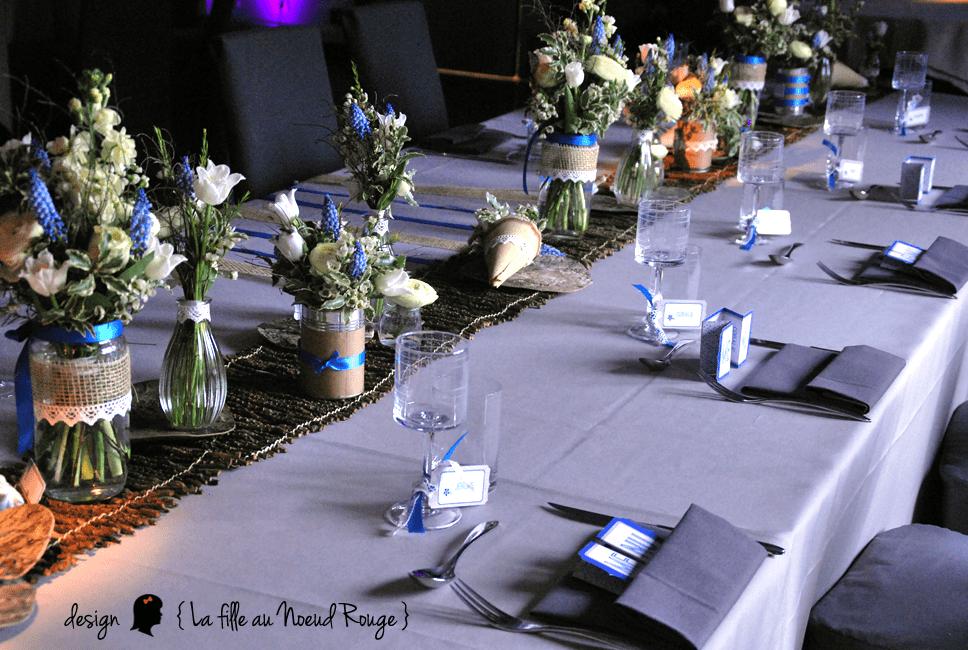 La fille au noeud rouge decoration mariage personnalise champetre romantique 2 la fille au - Deco de table bleu ...