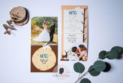 faire-part de mariage sur-mesure et décoration papeterie forêt nature bois remerciement