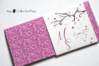 faire-part de mariage sur-mesure et décoration papeterie liberty champêtre parme violet japon fleurs