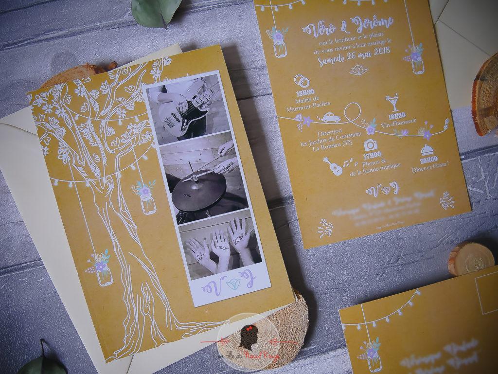faire-part mariage sur-mesure champêtre kraft mason jar arbre de vie pastel blanc programme de la journée avec pictos fleurs