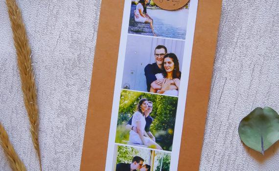 La fille au noeud rouge - Faire-part mariage sur-mesure photomaton kraft champêtre illustration symbole programme minimaliste-1