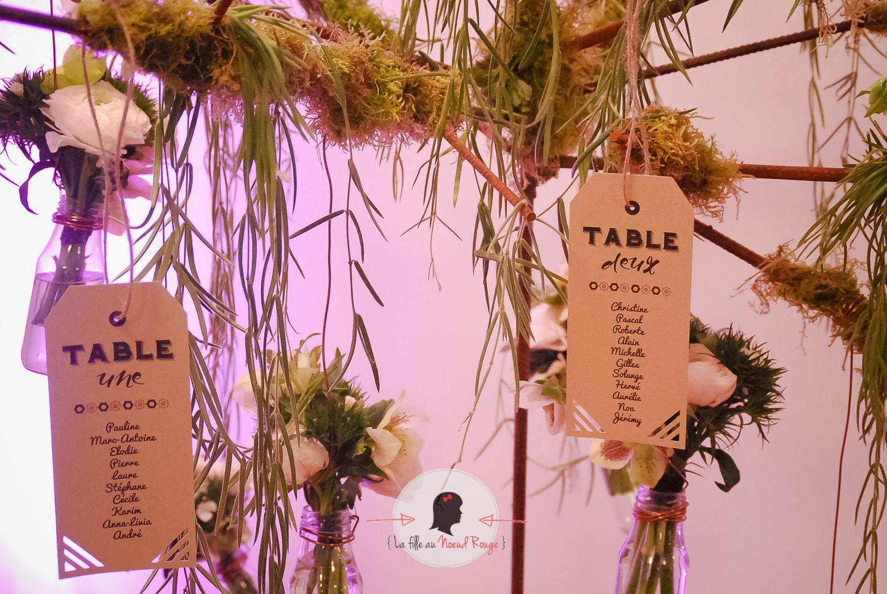 La fille au nœud rouge - Faire-part mariage sur-mesure & décoration papeterie moderne industriel kraft plan de table