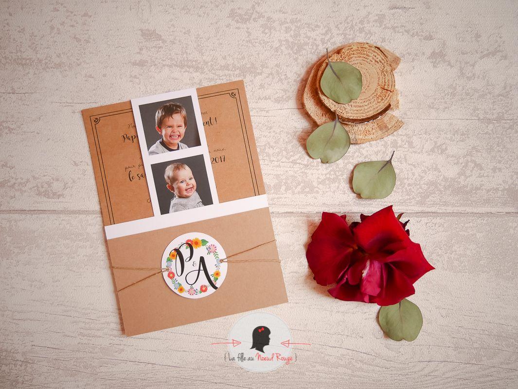 La fille au nœud rouge - Faire part sur mesure mariage kraft champêtre rustique couronné fleurs tournesols
