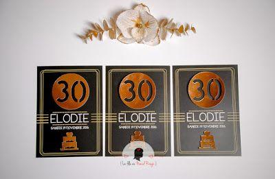 invitation anniversaire sur-mesure et décoration papeterie chic original or noir
