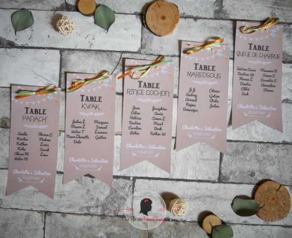 Faire-part mariage sur mesure papeterie champêtre corail vert d'eau bière plan de table personnalisé