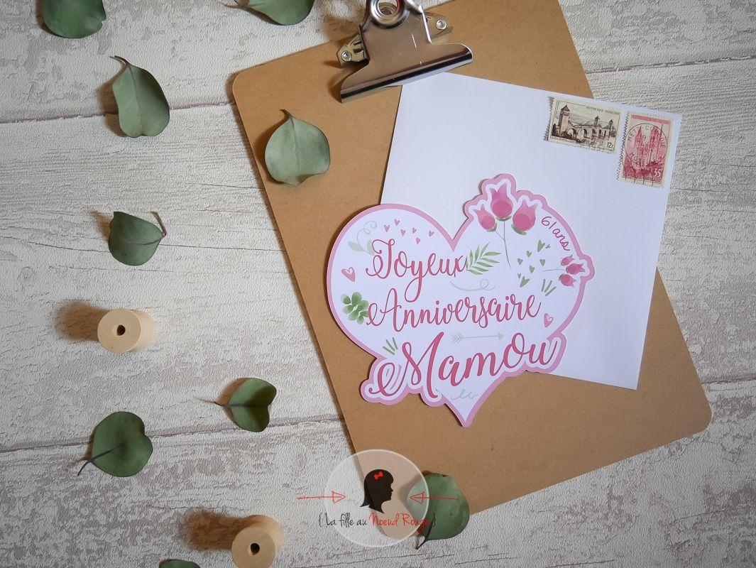 Faire-part sur mesure papeterie anniversaire cœur fleurs aquarelle