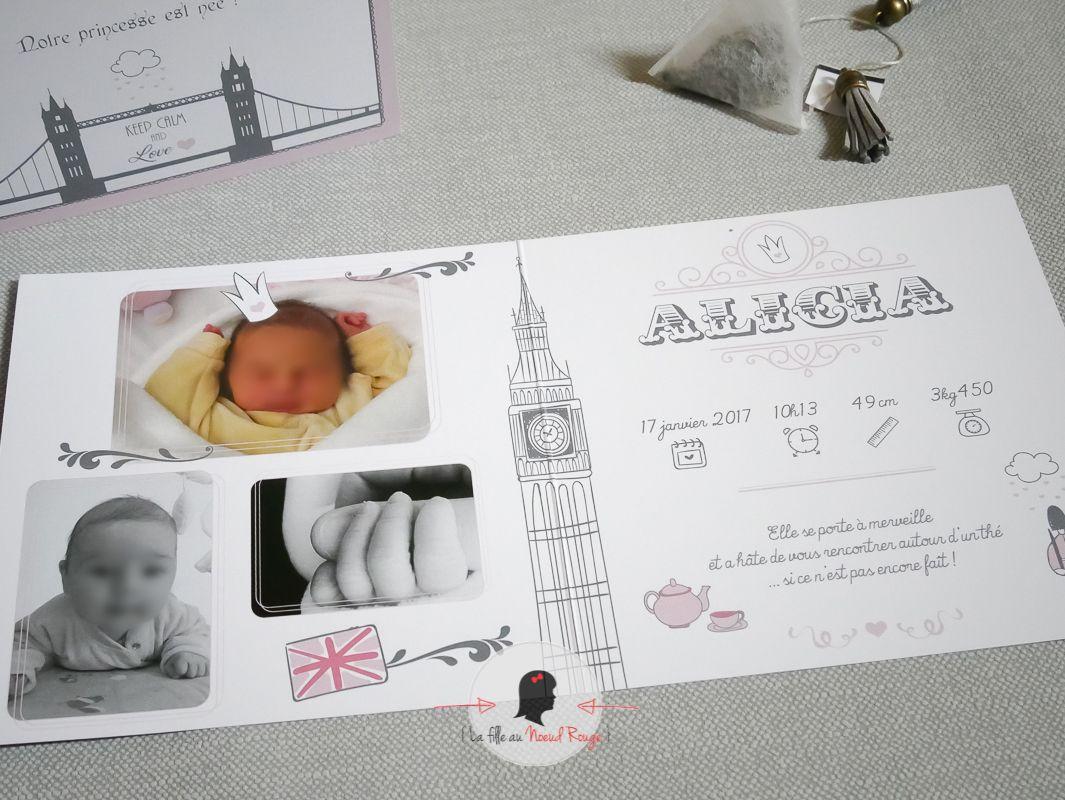 La fille au noeud rouge - Faire part sur mesure-naissance londres royal baby princesse fille photo illustration