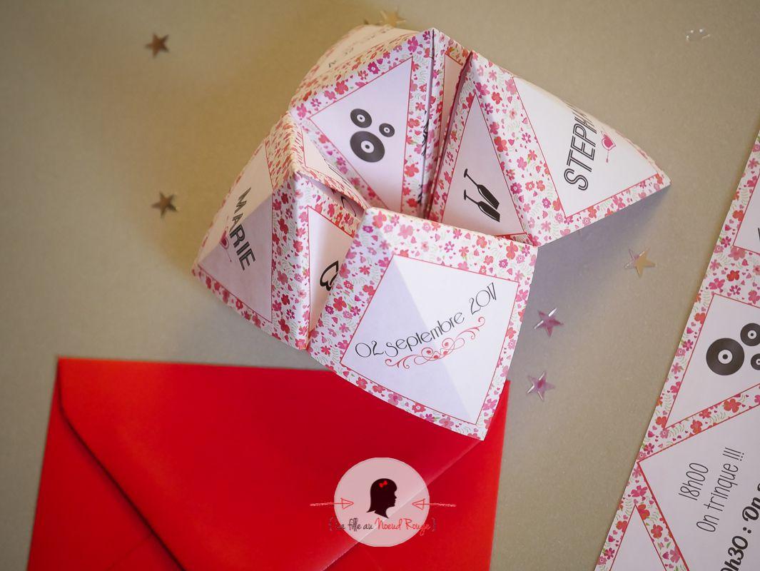 La fille au noeud rouge - Faire part mariage sur mesure cocotte papier liberty format original champêtre