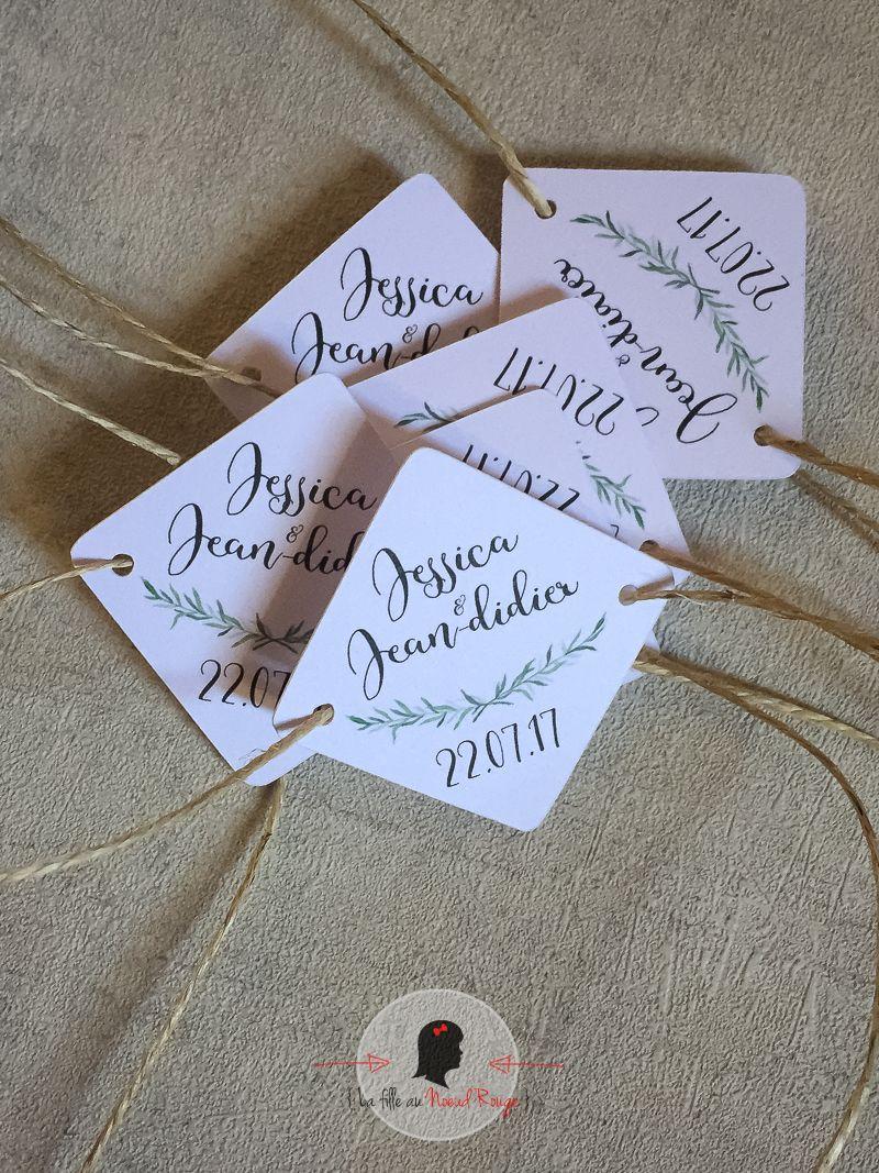 Étiquette cadeau invité mariage sur mesure et papeterie minimaliste romarin nature bucolique kraft