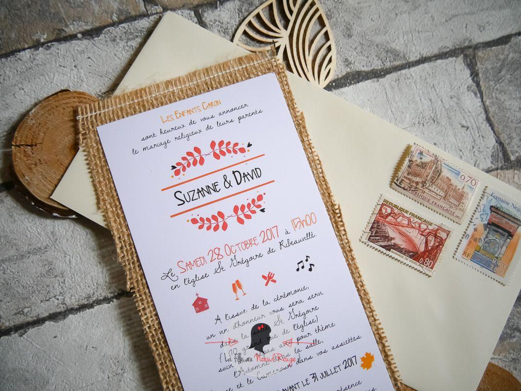 La fille au nœud rouge - Faire-part mariage sur mesure automne feuille orange jaune