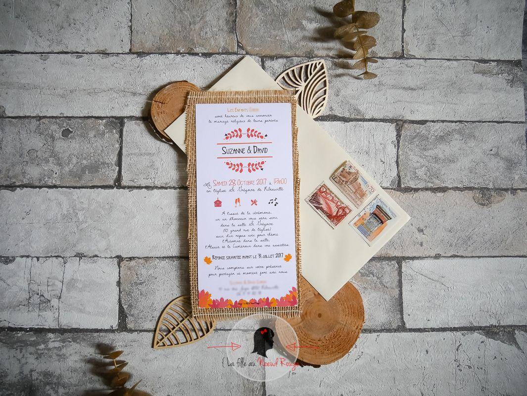 le faire part de mariage automne de s d la fille au noeud rouge faire part sur mesure. Black Bedroom Furniture Sets. Home Design Ideas