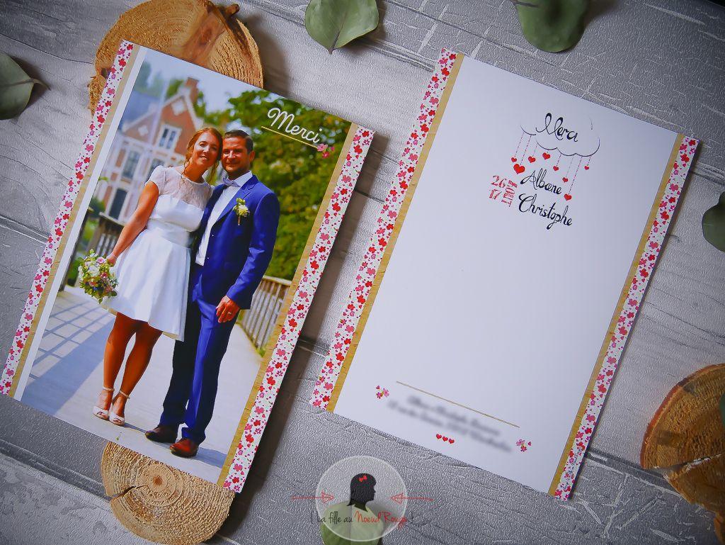 faire-part remerciement mariage sur-mesure liberty champêtre fleurs romantique rose rouge coeur