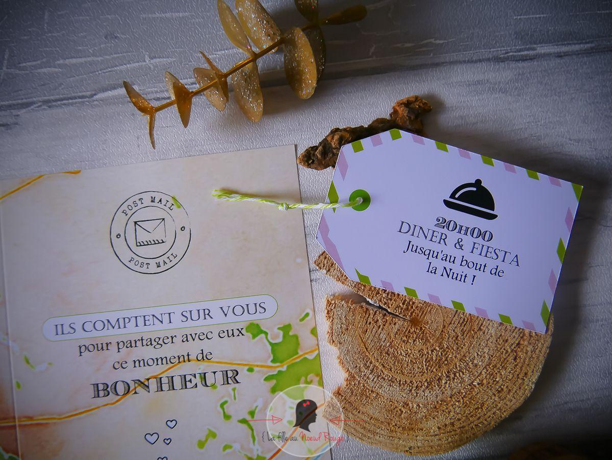 Faire-part sur-mesure mariage nature carte de randonnée ign illustration panneau bois voyage étiquette valise coupon réponse