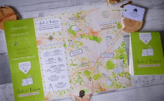 Faire-part mariage sur-mesure nature carte de randonnée ign illustration panneau bois voyage étiquette valise coupon réponse