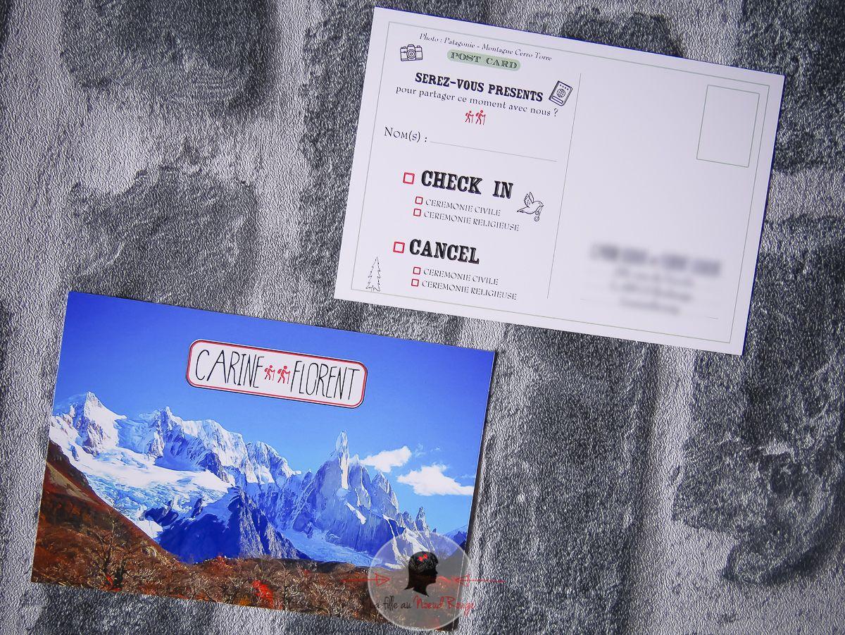 Faire-part mariage sur-mesure nature randonnée illustration voyage passeport carte postale