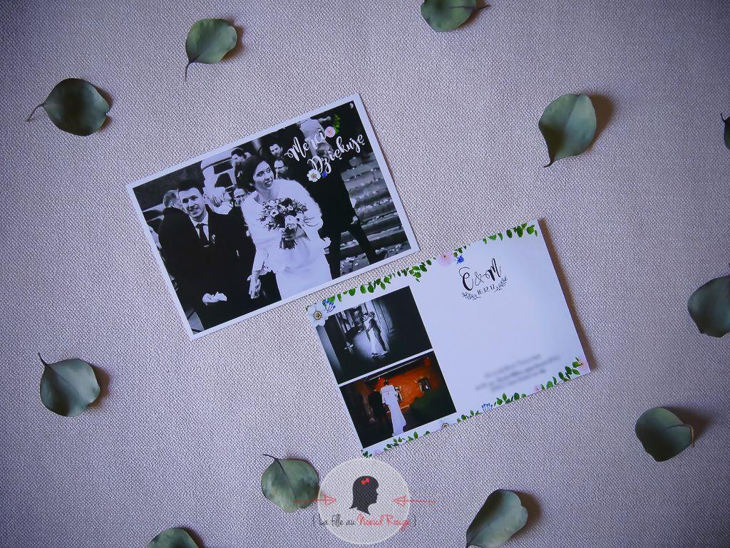 La fille au Noeud Rouge - Faire-part remerciement mariage sur-mesure photo végétal fleur aquarelle rose eucalyptus