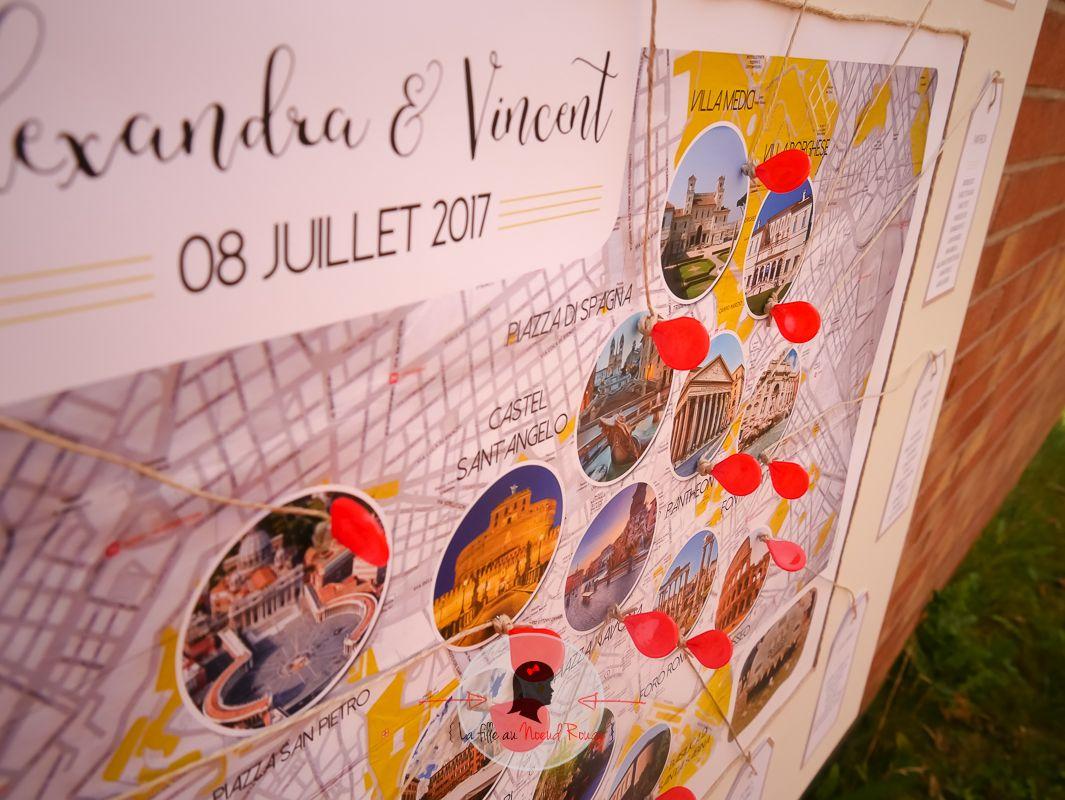 La fille au Noeud Rouge - papeterie mariage sur-mesure voyage italie plan de table
