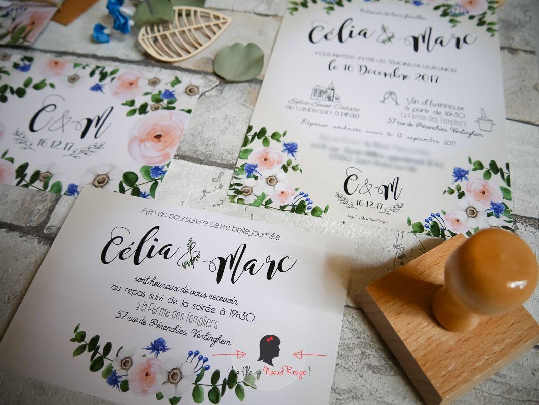 La fille au Noeud Rouge - Faire-part mariage sur mesure jardin champêtre bleu roi vert emeraude kinfolk