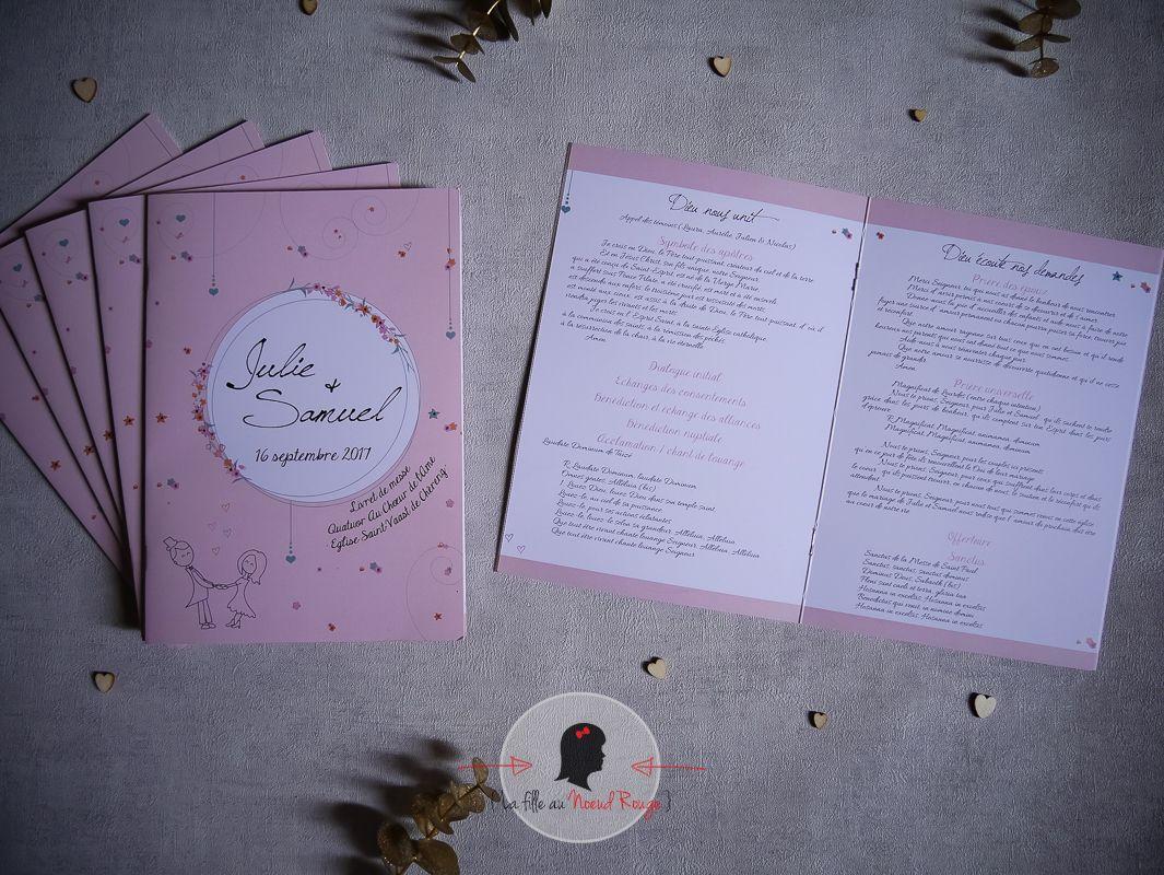 La fille au Noeud Rouge - Décoration mariage sur-mesure champêtre illustration rose blanc livret de messe