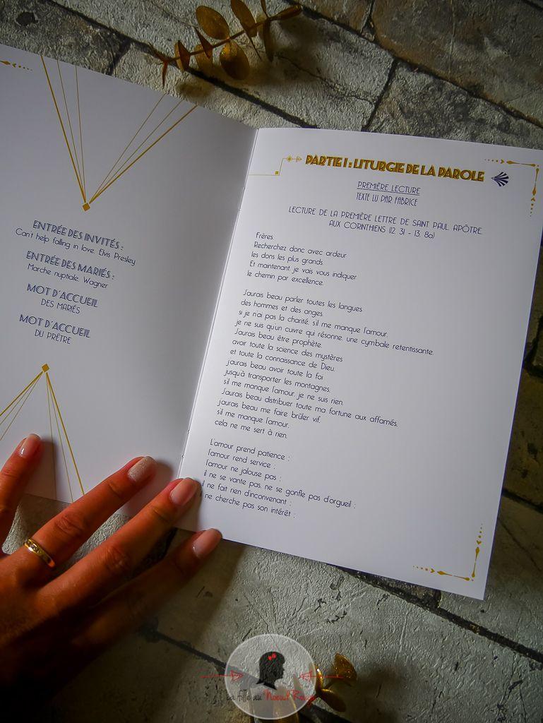 La fille au Noeud rouge - décoration papeterie mariage livret de messe art déco gatsby or bleu marine livret de messe livret de cérémonie