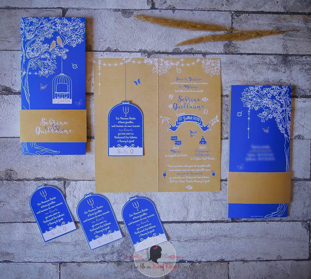 La fille au Noeud rouge - mariage champêtre envol oiseau bleu royal kraft cage arbre de vie-29 copie