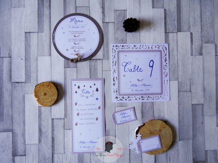 La fille au Noeud Rouge - Décoration papeterie mariage sur-mesure hiver bois bleu royal menu numéro de table plan de table marque-place personnalisé