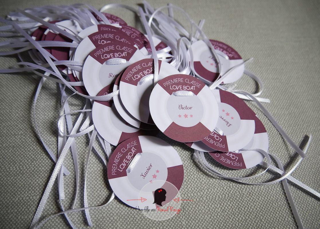 La fille au Noeud Rouge - papeterie mariage sur-mesure voyage croisiere violet gris marque-place personnalisé