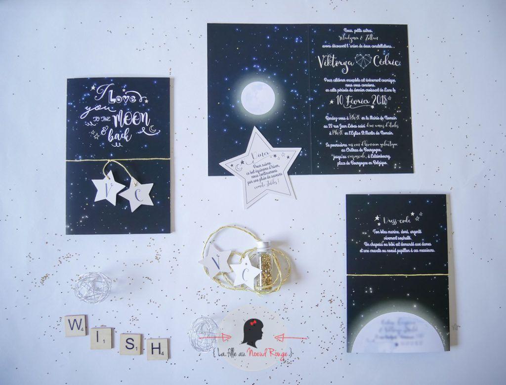 La fille au Noeud Rouge - faire-part mariage sur mesure constellation étoile lune univers cosmique or i love you to the moon and back