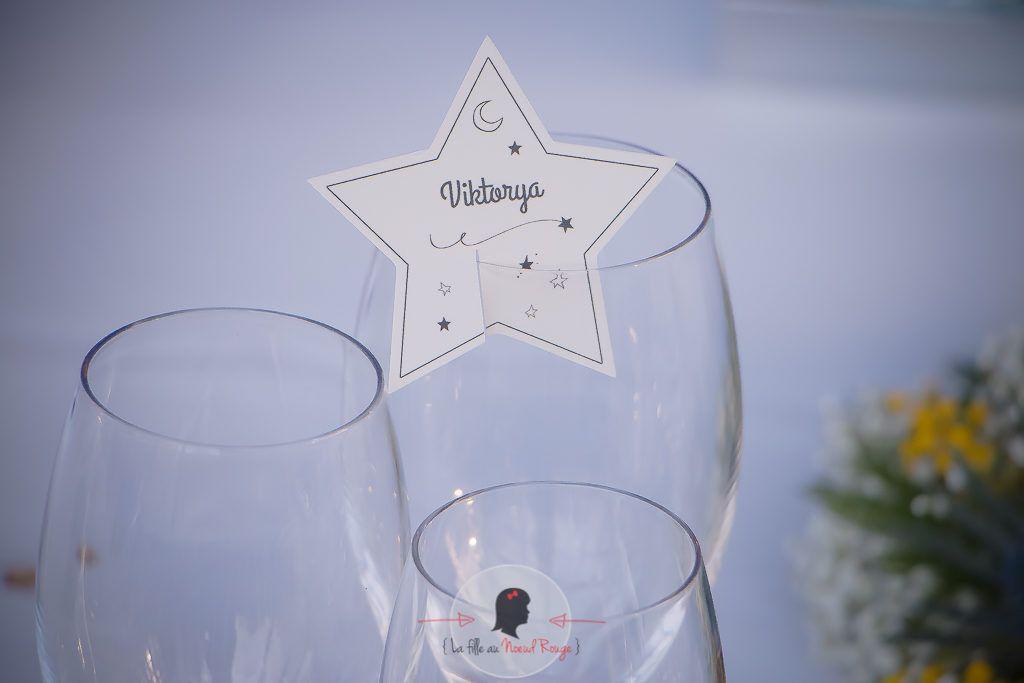 La fille au Nœud Rouge - marque-place décoration papeterie mariage sur-mesure étoile lune voie lactée univers constellations