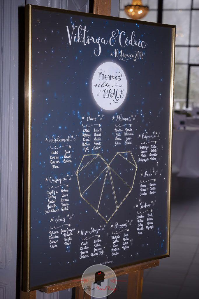 La fille au Nœud Rouge - plan de table décoration papeterie mariage sur-mesure étoile lune voie lactée univers constellations