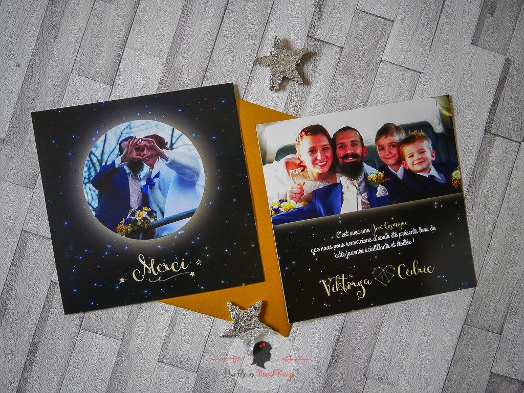 La fille au Noeud rouge - remerciement mariage étoile lune astres photo voie lactée