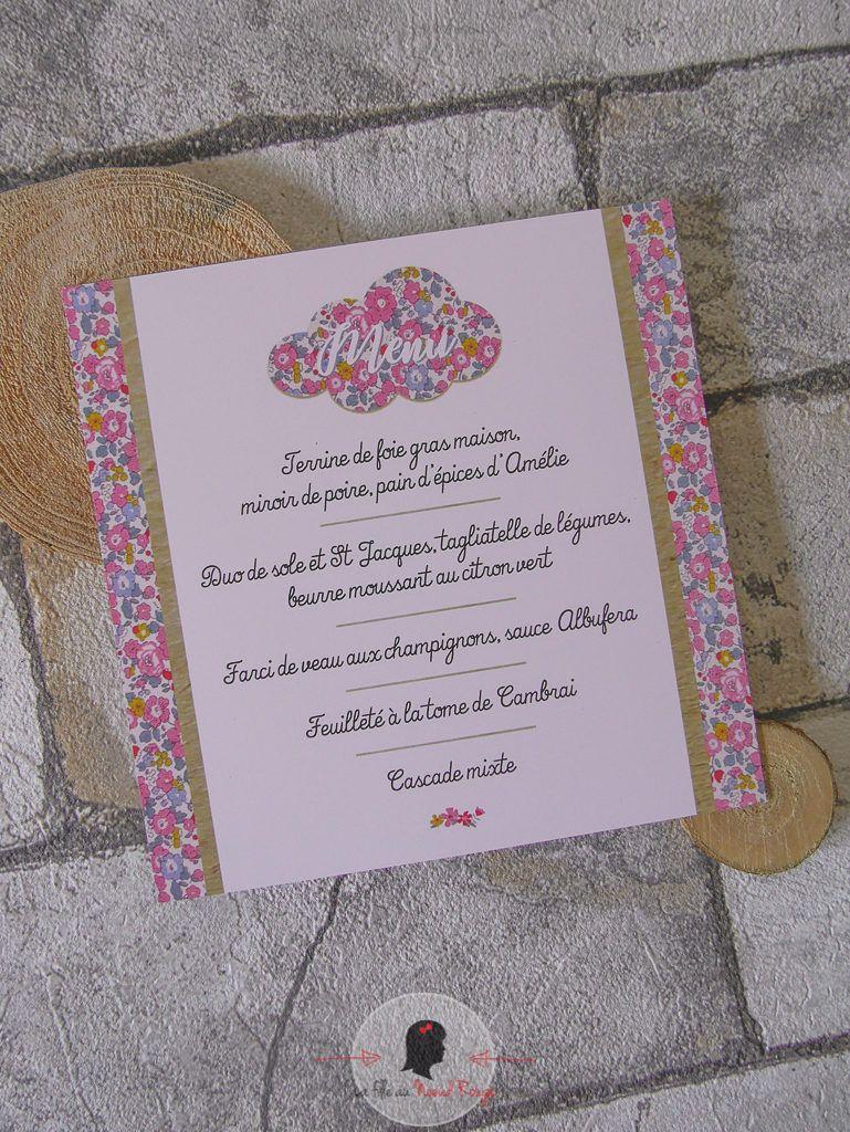 La fille au Nœud Rouge - décoration papeterie baptême fille liberty champêtre kraft rose nuage menu carré