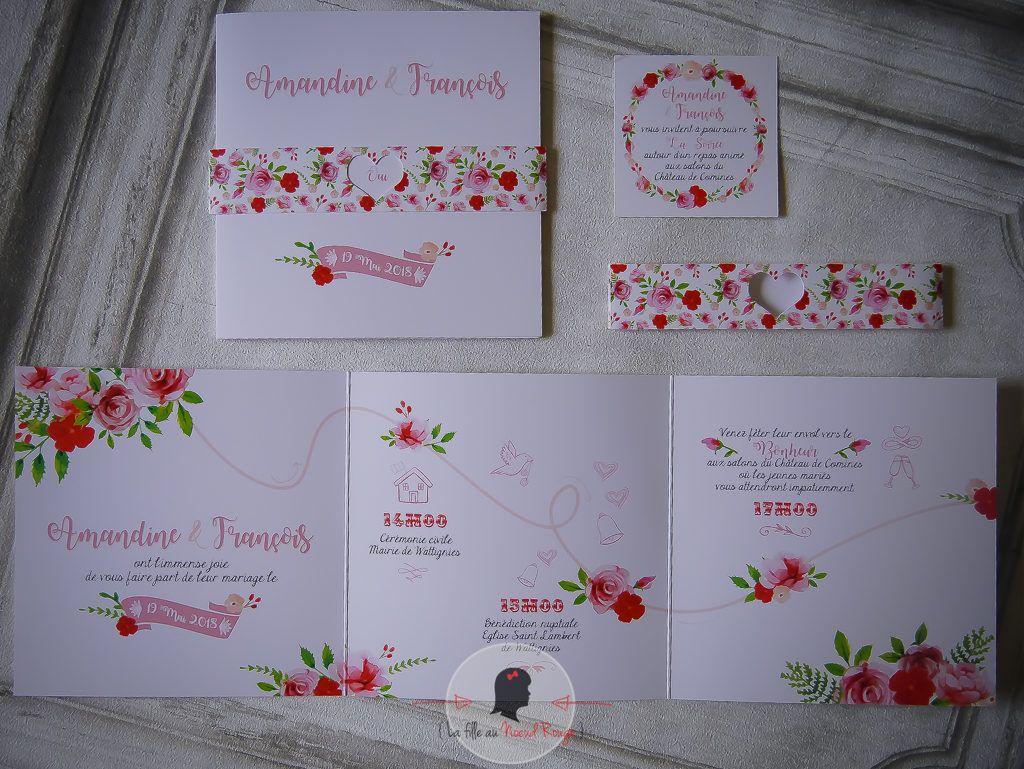La fille au Noeud Rouge - Faire-part sur-mesure mariage romantique fleurs champêtre rose