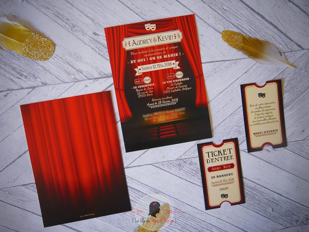 La fille au Noeud Rouge - faire-part mariage théâtre avec coupon