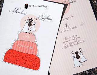 faire-part de mariage sur-mesure wedding cake moderne graphique